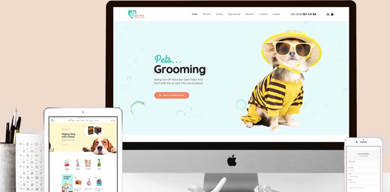 Pet grooming website